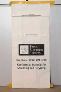 Paper bag for storing material for shredding and recycling