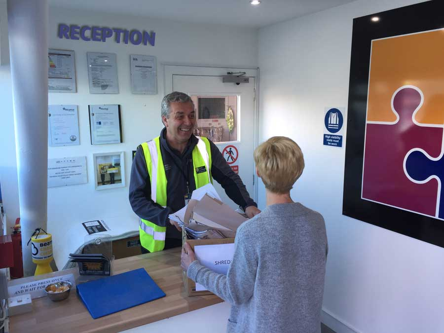 Paper Shredding Services reception at our Glasgow depot