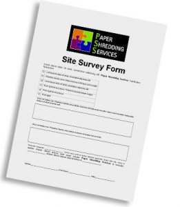 Paper Shredding Services' Site Survey Form