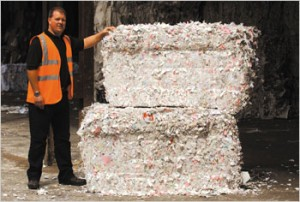 Bales of shredded paper ready for the paper mill