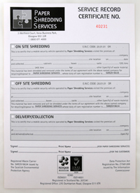 Paper Shredding Services certificate confirming shredding and removal for recycling