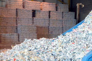 Paper shredding and recycling at Paper Shredding Services depot, Glasgow