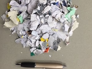 Shredded paper straight out of the shredder